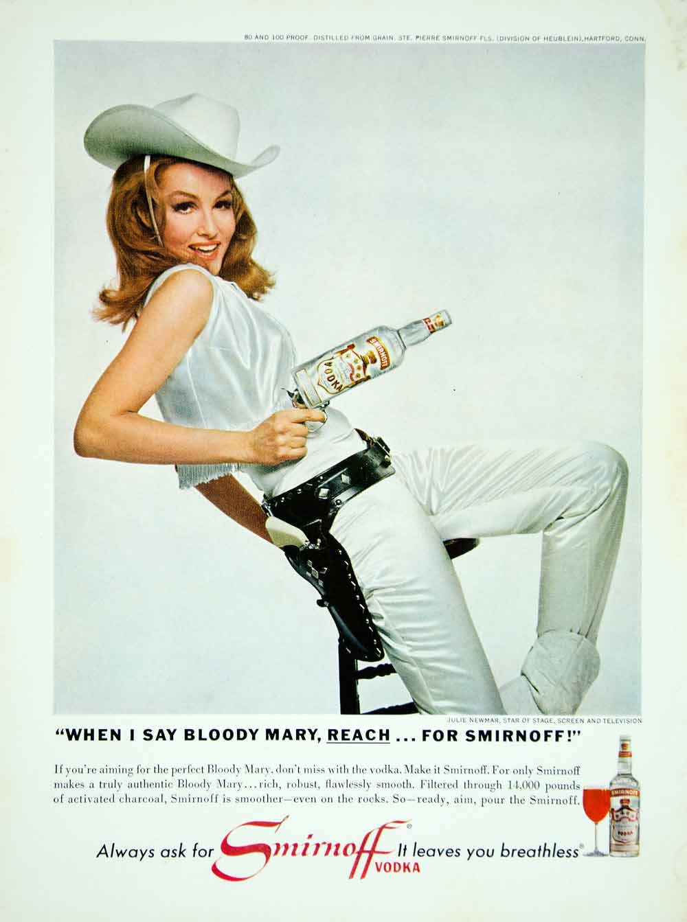 1966 Ad Vintage Smirnoff Vodka Alcohol Bloody Mary Julie Newmar Actress YMMA3