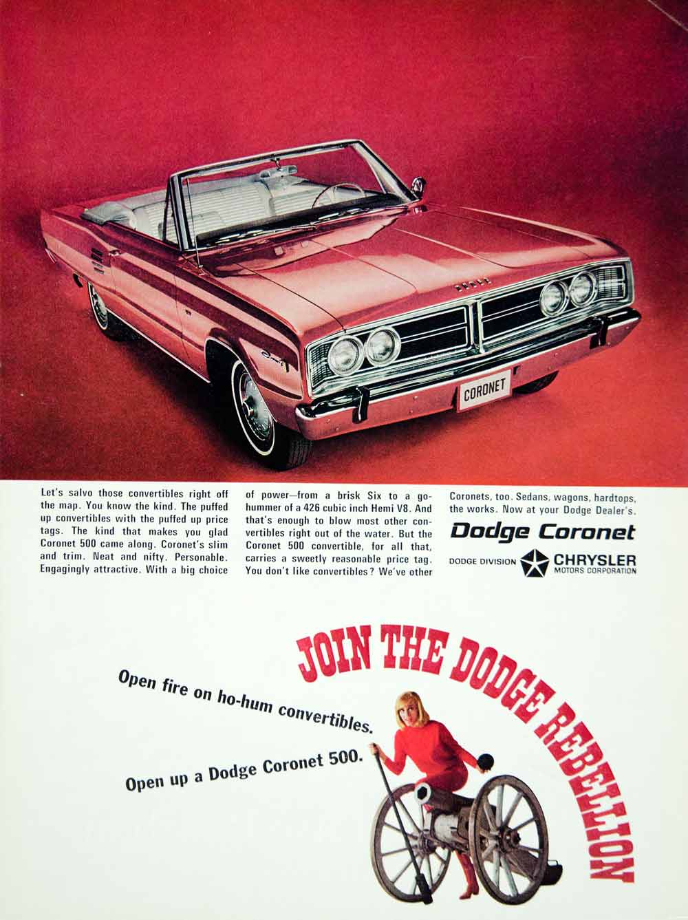 1966 Ad Vintage Chrysler Dodge Coronet 500 Convertible Car Red Automobile YMMA3