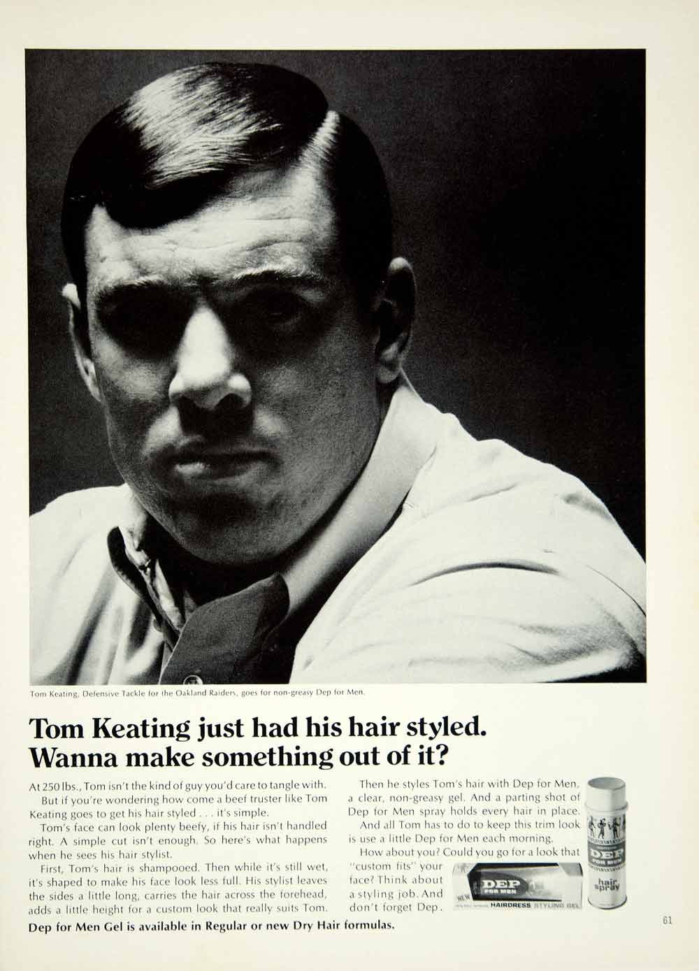1967 Ad Dep Hair Gel Men Tom Keating Oakland Raiders Football Defensive YMMA3