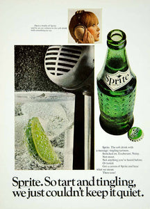 1967 Ad Vintage Sprite Soft Drink Soda Bottle Lemon Lime Tart Tingling YMMA3