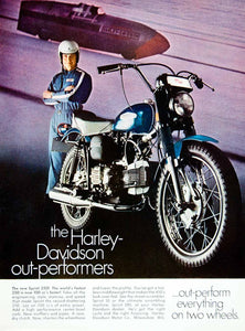 1968 Ad Vintage Harley Davidson Sprint 350 Motorcycle Blue Motorcycling YMMA3