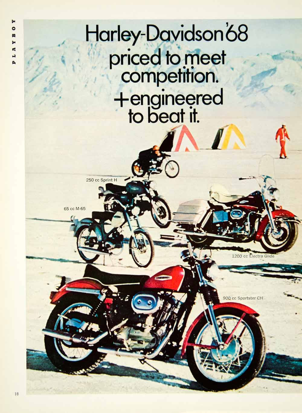 Charming 1968 Ad Harley Davidson Motorcycles Sprint H Electra Glide Sportster CH  YMMA3   Period Paper ...