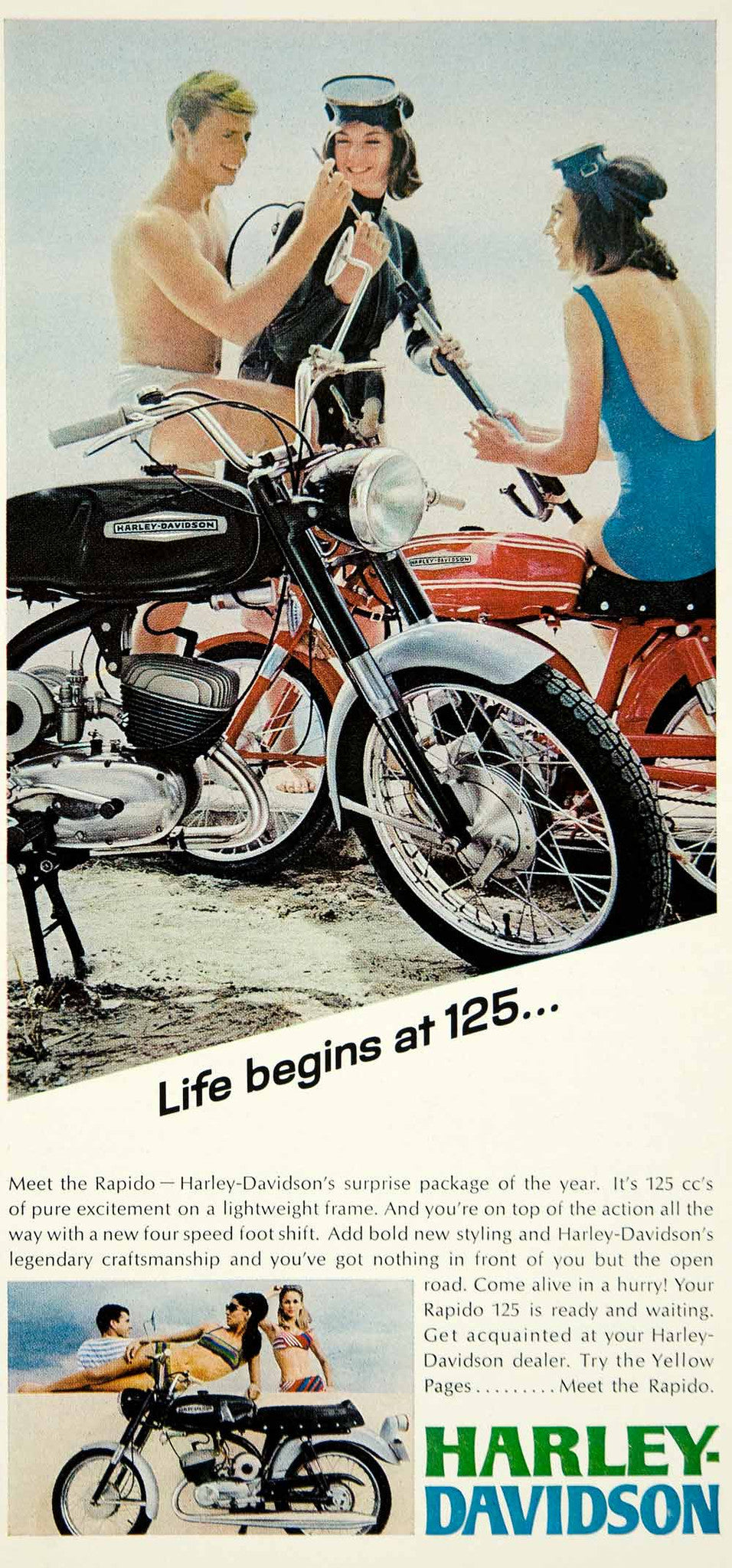1967 Ad Vintage Harley Davidson 125 Rapido Motorcycle Motorcycling Beach  YMMA3   Period Paper