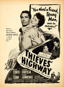 1949 Ad Thieves' Highway Valentina Cortesa 20th Century Fox Richard Conte YMP1