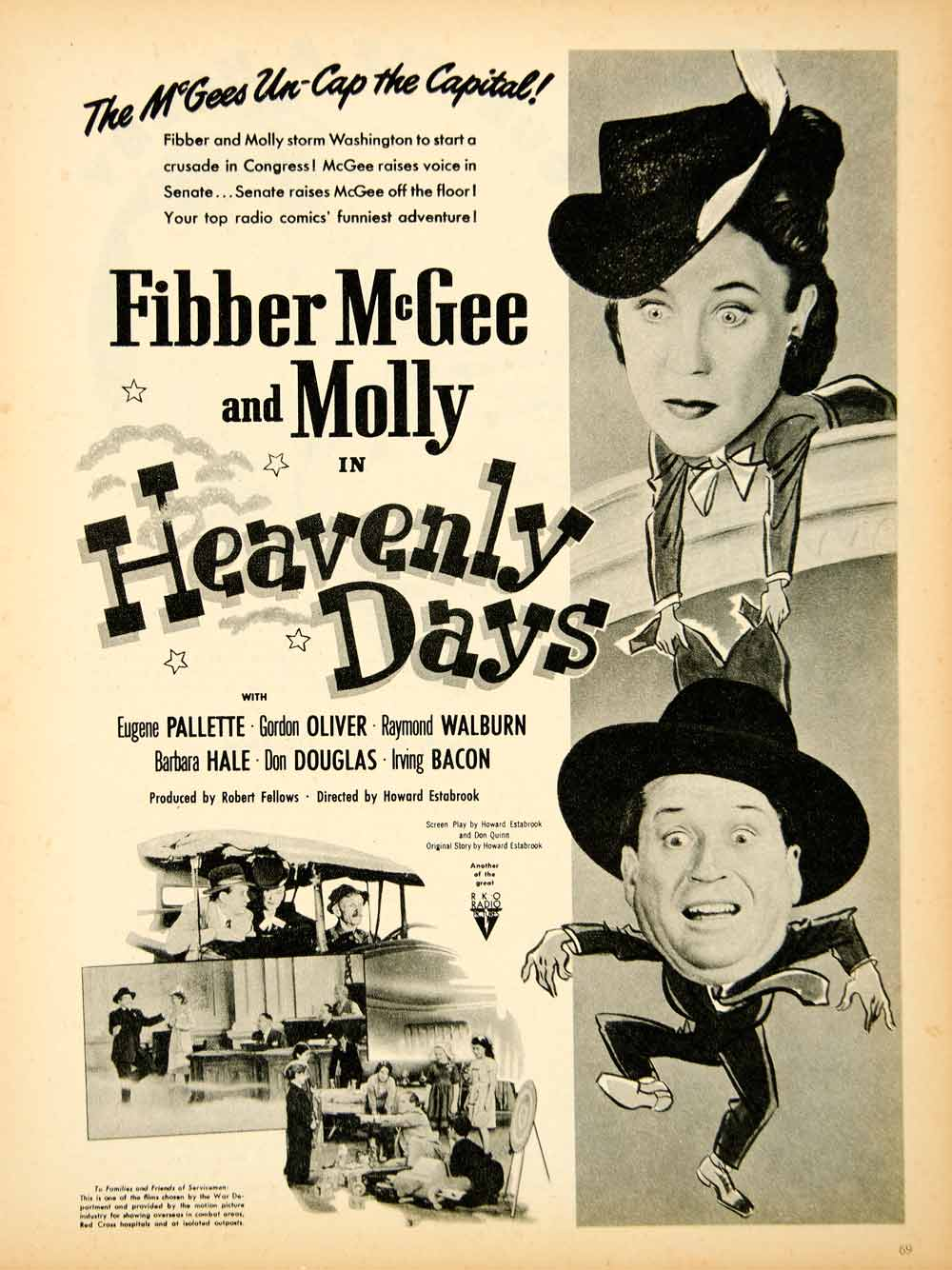 694f114dcac64 1944 Ad Fibber McGee Molly Heavenly Days Eugene Pallette Gordon Oliver Don  YMP1
