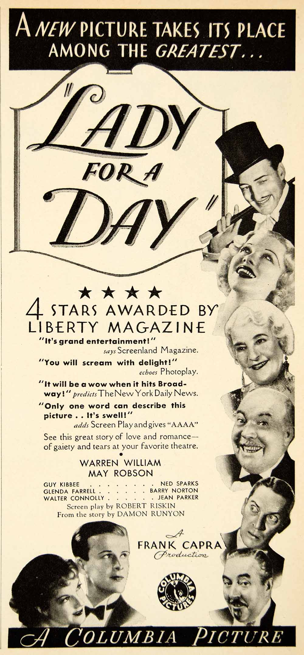 1933 Ad Lady Day Frank Capra Warren William May Robson Columbia Riskin YMP1