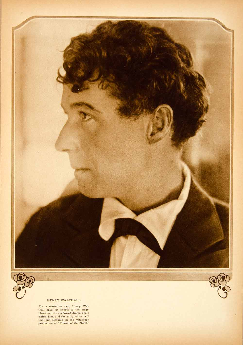 1921 Rotogravure Henry Walthall Actor Flower North Portrait Star Broadway YMP1