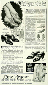 1927 Ad Vintage Lane Bryant Stout-Arch Shoes Stout Fat Women Fashion YMP3