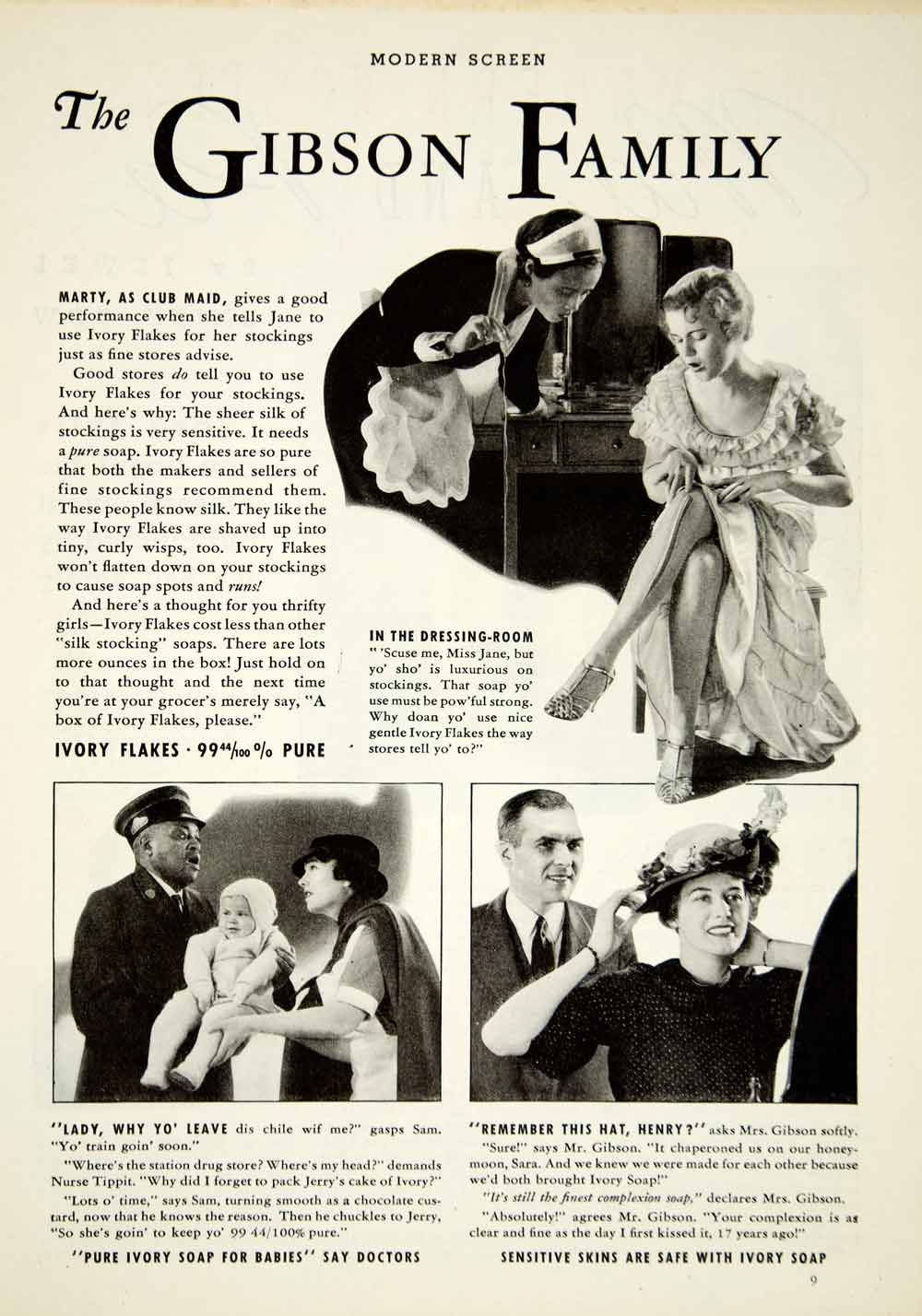 1934 Ad Vintage Ivory Soap Skin Care Complexion Black Americana Gibson YMS1