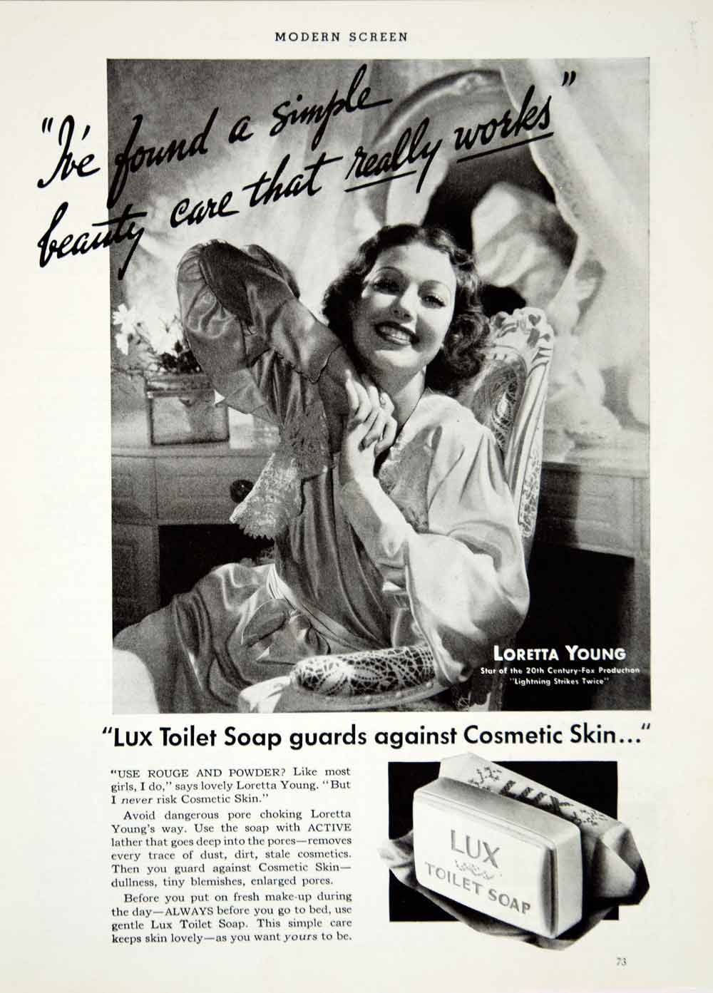 1936 Ad Vintage Lux Toilet Soap Loretta Young Movie Actress Hollywood Star YMS1
