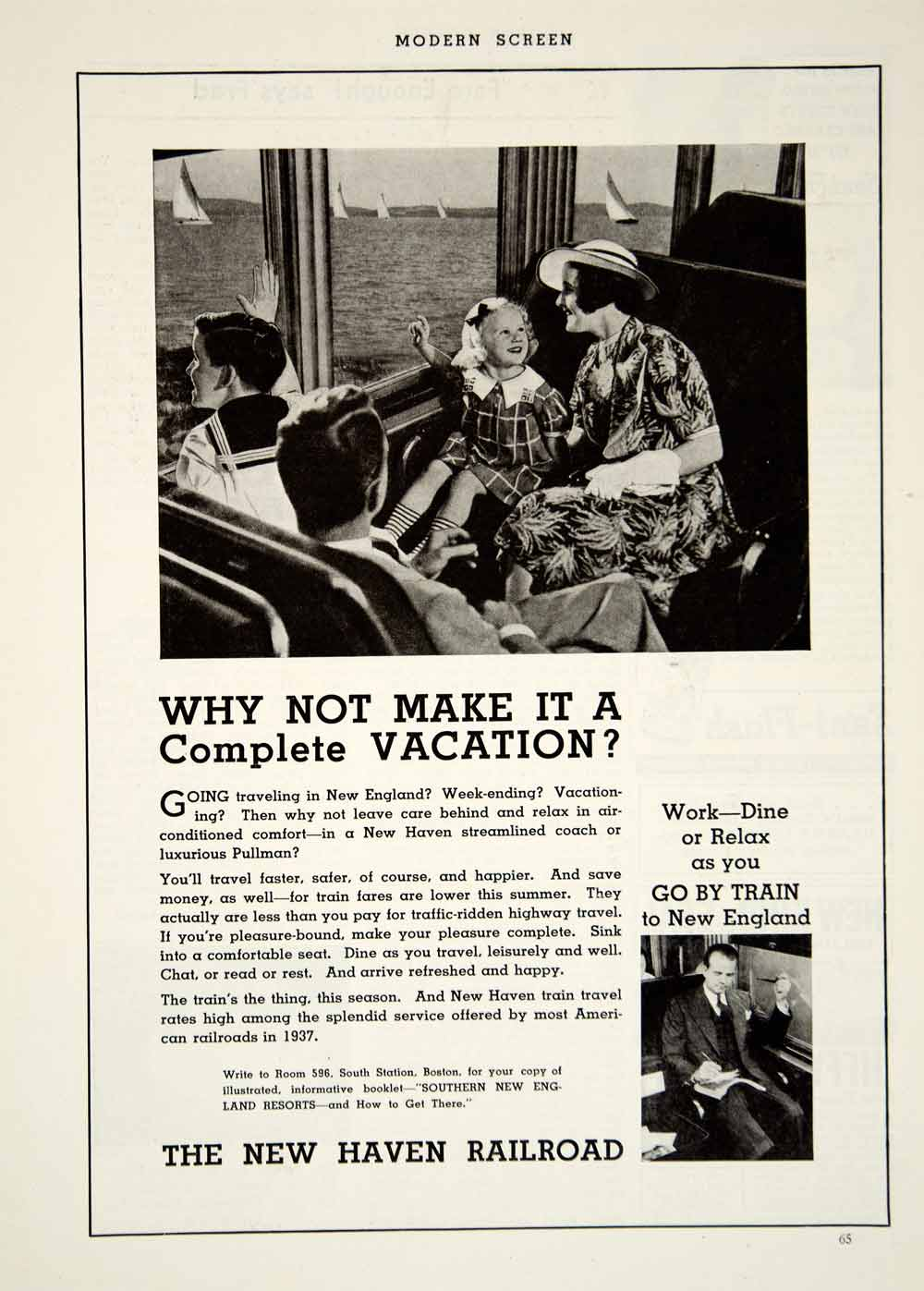 1937 Ad Vintage New Haven Railroad Train Travel New England Route YMS1