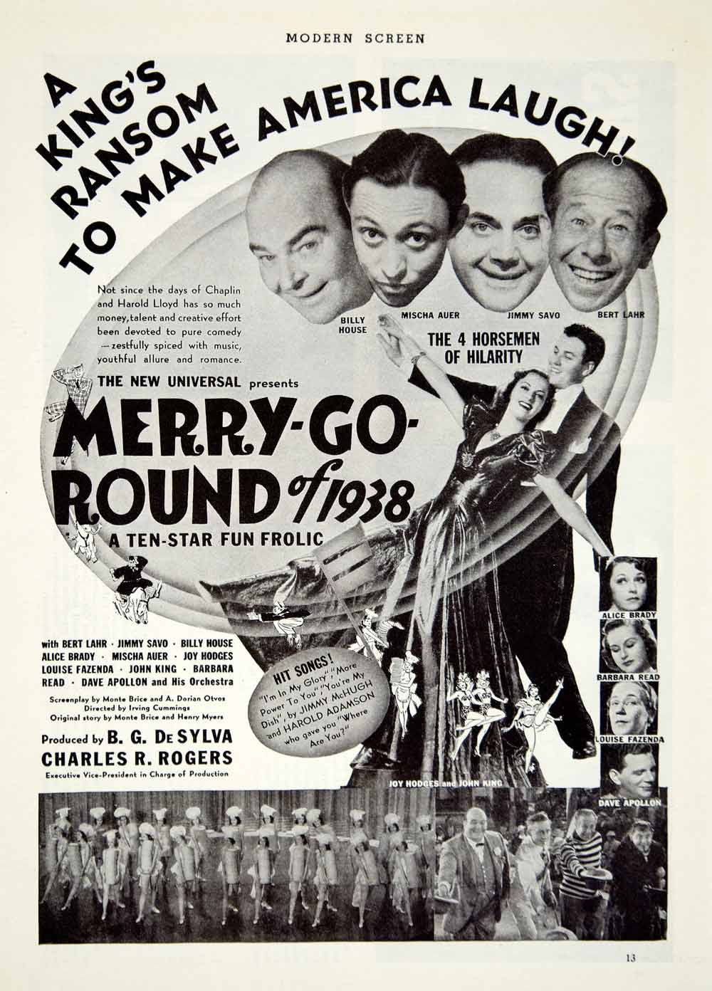 1937 Ad Movie Merry Go Round 1938 Bert Lahr Jimmy Savo Billy House Mischa YMS1