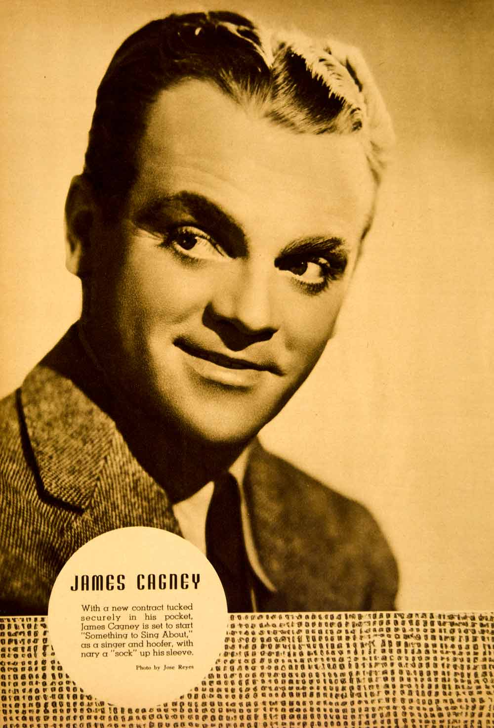 1937 Rotogravure James Cagney Something Sing About Jose Reyes Actor YMS1
