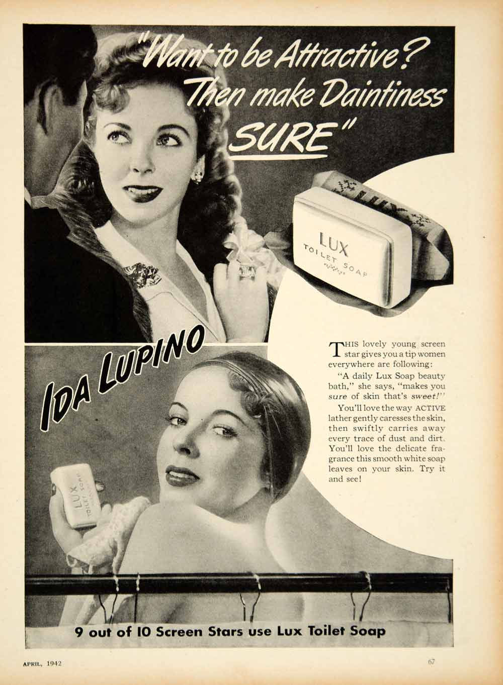 1942 Ad Lux Toilet Soap Ida Lupino Movie Actress Star Beauty Shower Skin YMS2