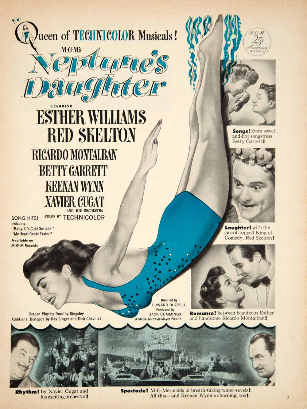 1949 Ad Movie Neptune's Daughter Musical Comedy Esther Williams Red Skelton YMS2