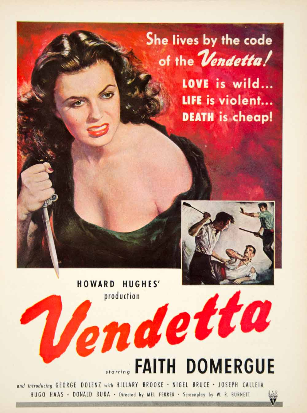 1951 Ad Movie Vendetta 1950 Howard Hughes Mel Ferrer Faith Domergue Crime YMS2