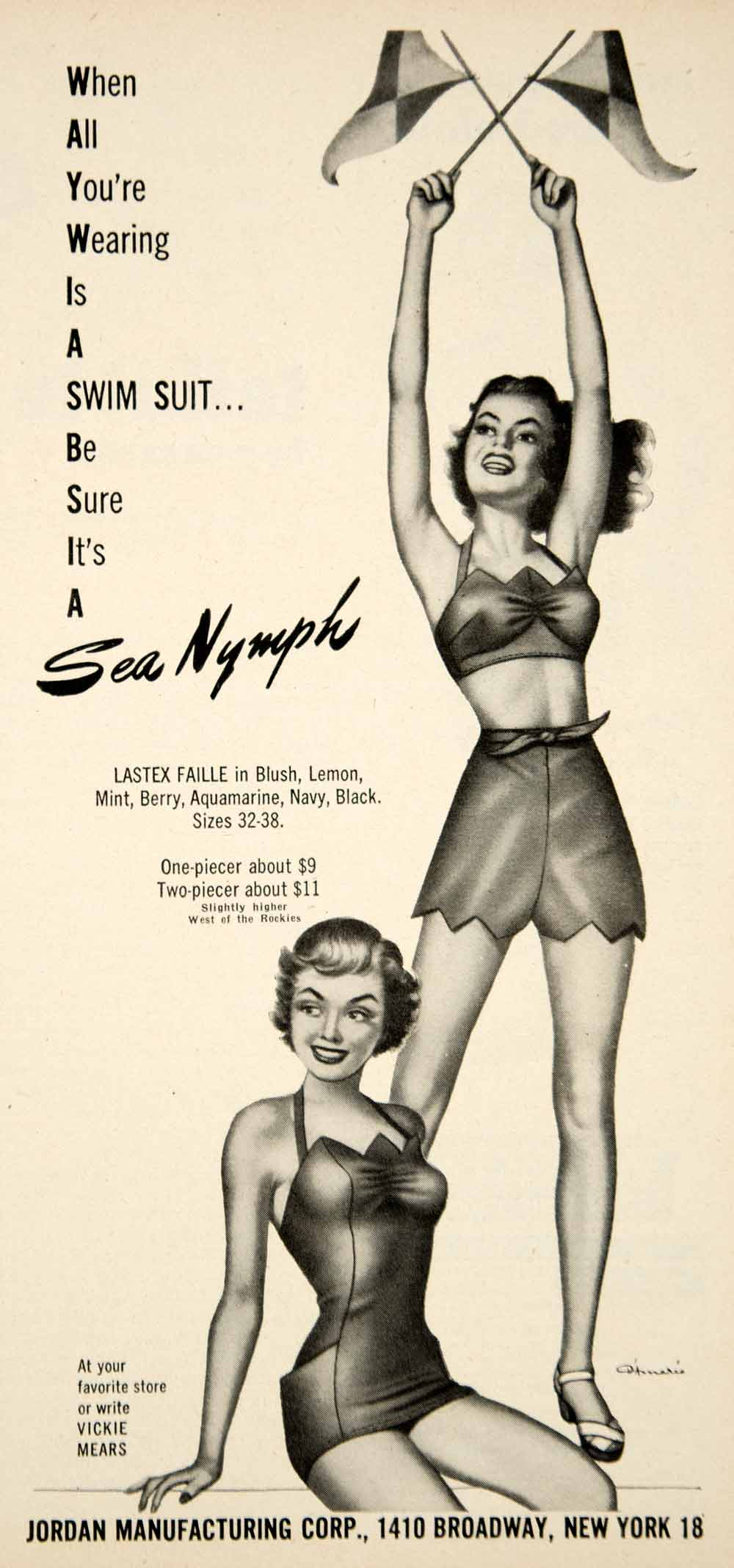 8d41df1b0de 1951 Ad Vintage Sea Nymph Swimsuit Swim Suit Bathing Two Piece Swimming YMS2
