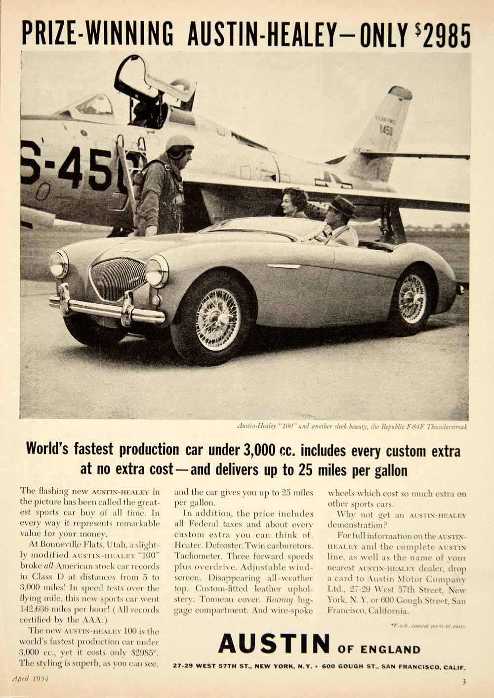 1954 Ad Austin-Healey 100 Sports Car Republic F-84F Thunderbird Airplane YMT1 - Period Paper