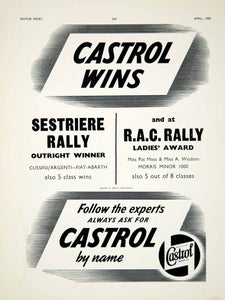 1958 Ad Castrol Motor Oil Petroleum Gas RAC Sestriere Rally Car Auto Racing YMT2