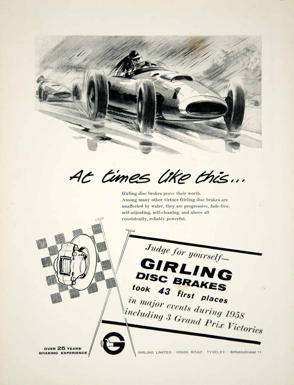 1959 Ad Girling Disc Brakes Car Automobile Parts Grand Prix Auto Racing YMT2