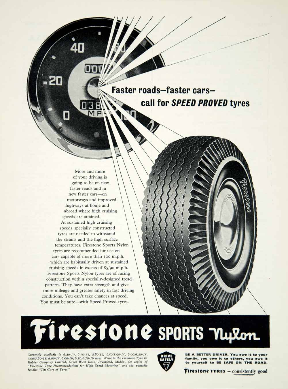 1960 Ad Firestone Sports Nylon Tyres Tires Car Automobile Part Speed Proved YMT2