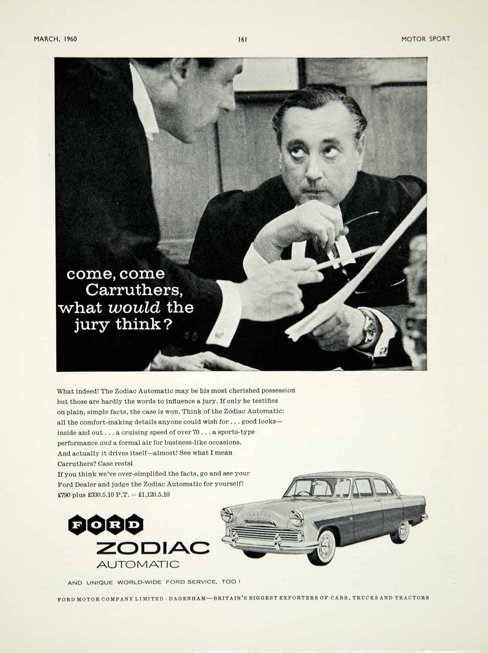 1960 Ad Ford Zodiac Mark II Saloon Car Classic Automobile Judge Carruthers YMT2