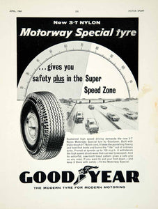 1960 Ad Goodyear 3T Nylon Motorway Special Tyres Tires Car Automobile Parts YMT2
