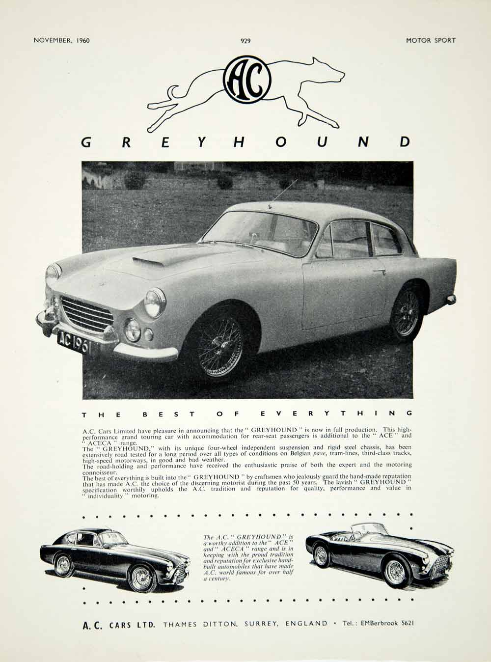 1960 Ad 1961 AC Greyhound 2-Door Coupe Classic Car Collector Automobile YMT2