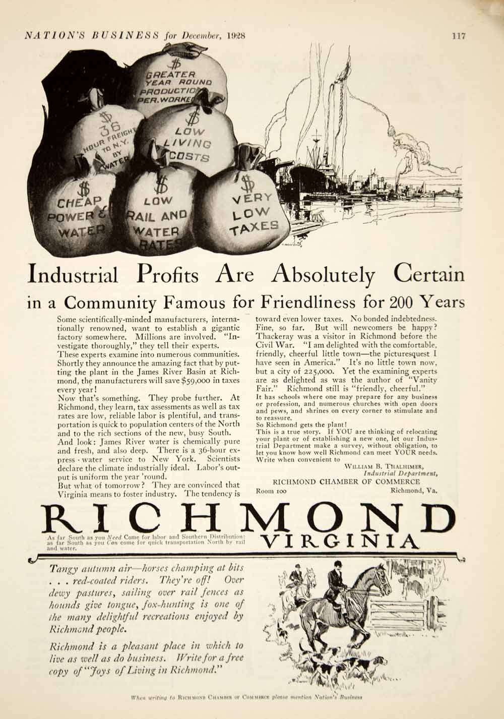 1928 Ad Richmond Virginia Chamber Commerce Tourism Horse Riding Industrial YNB1
