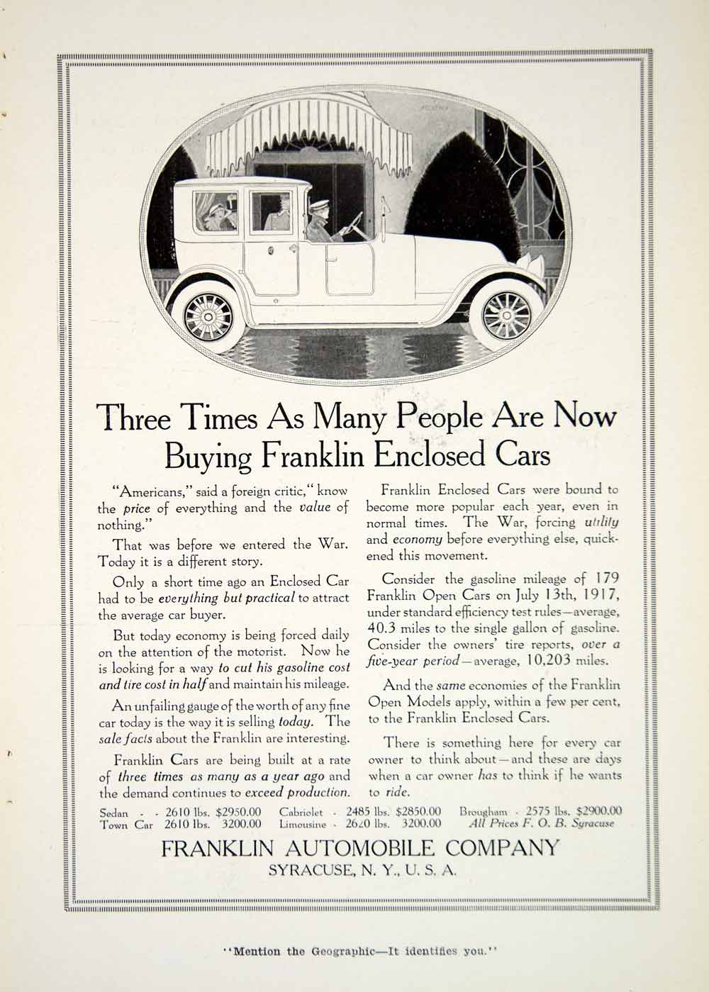 1917 Ad Franklin Automobile Company Syracuse New York Car Vehicle Historic YNG1