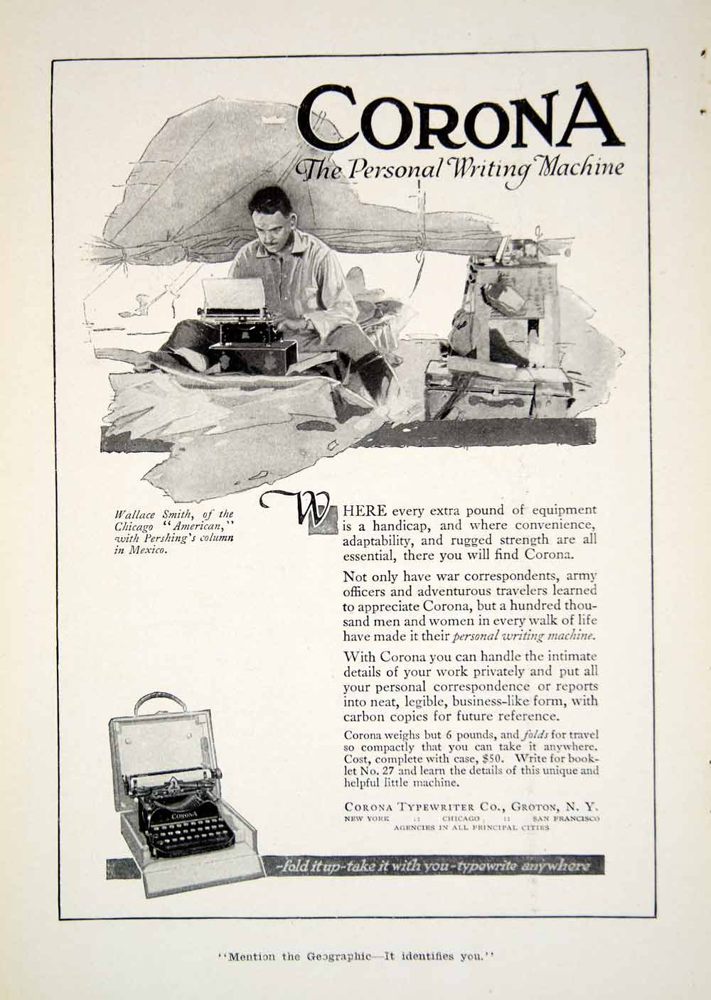 1917 Ad Corona Typewriter Company Personal Writing Machine Office Historic YNG1