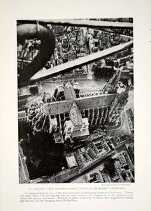1918 Print Cross Chartres Cathedral France Aerial View Architecture Image YNG2