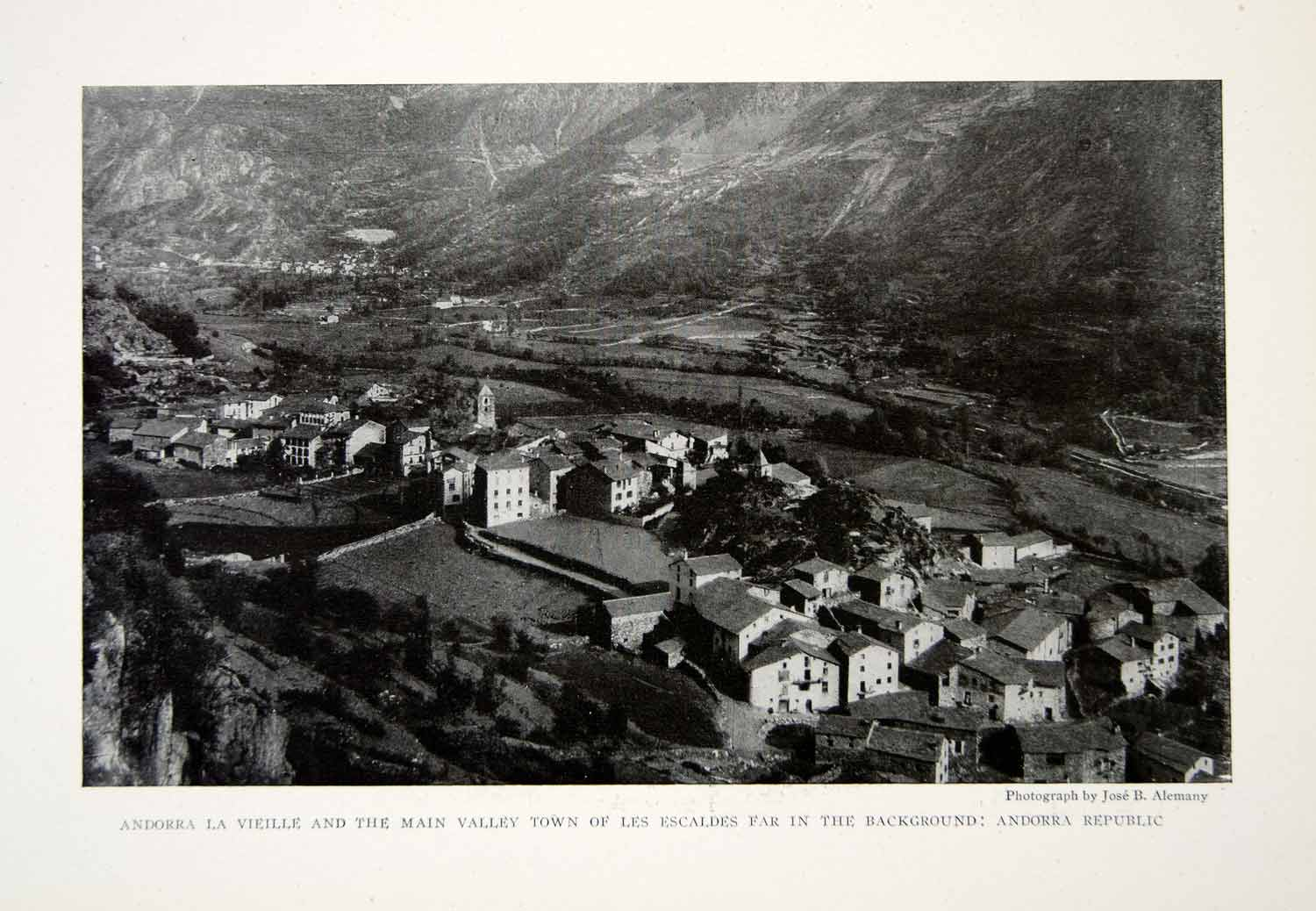 1918 Print Andorra Republic Cityscape Les Escaldes Valley Historical Image YNG2