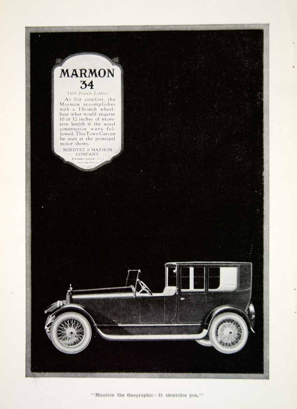 1918 Ad Nordyke Marmon Company 34 Automobile Car Vehicle American Image YNG2