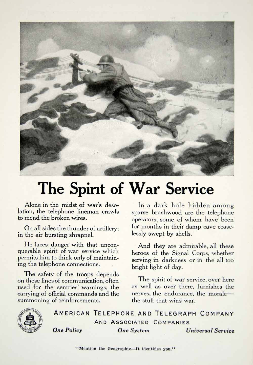 1918 Ad American Telephone Telegraph Company Wartime World War I Soldier YNG2 - Period Paper