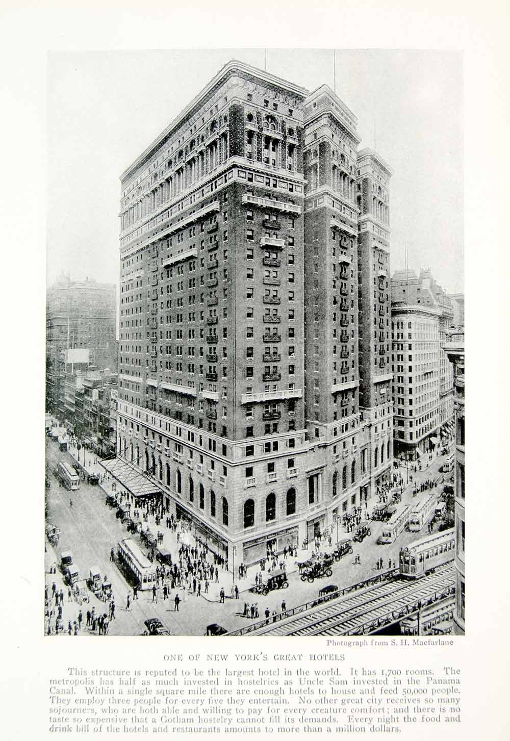 1918 Print New York City Hotel Cityscape Street Traffic NYC Historic Image YNG3