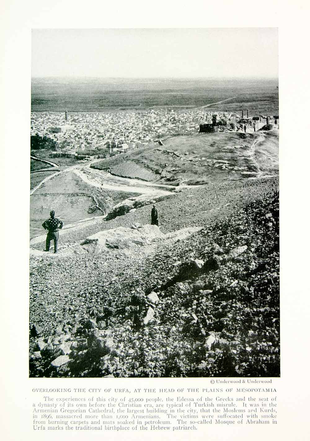 1918 Print Urfa City Turkey Turkish Edessa Mesopotania Historic Image View YNG3