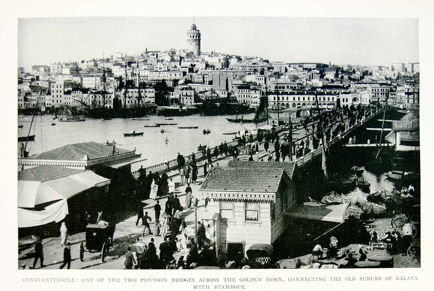 1918 Print Constantinople Istanbul Pontoon Bridge Golden Horn Stamboul YNG3