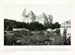 1918 Print Chateau Pierrefonds Castle France Medieval Architecture Historic YNG3