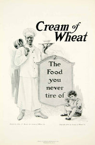 1918 Ad Cream of Wheat Cereal Chef Rastus Child Eating Edward V. Brewer YNG3