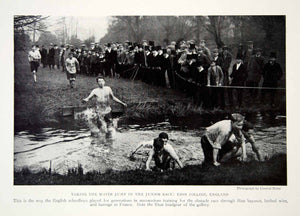 1919 Print Eton College England Junior Race Water Jump Historical Image YNG4