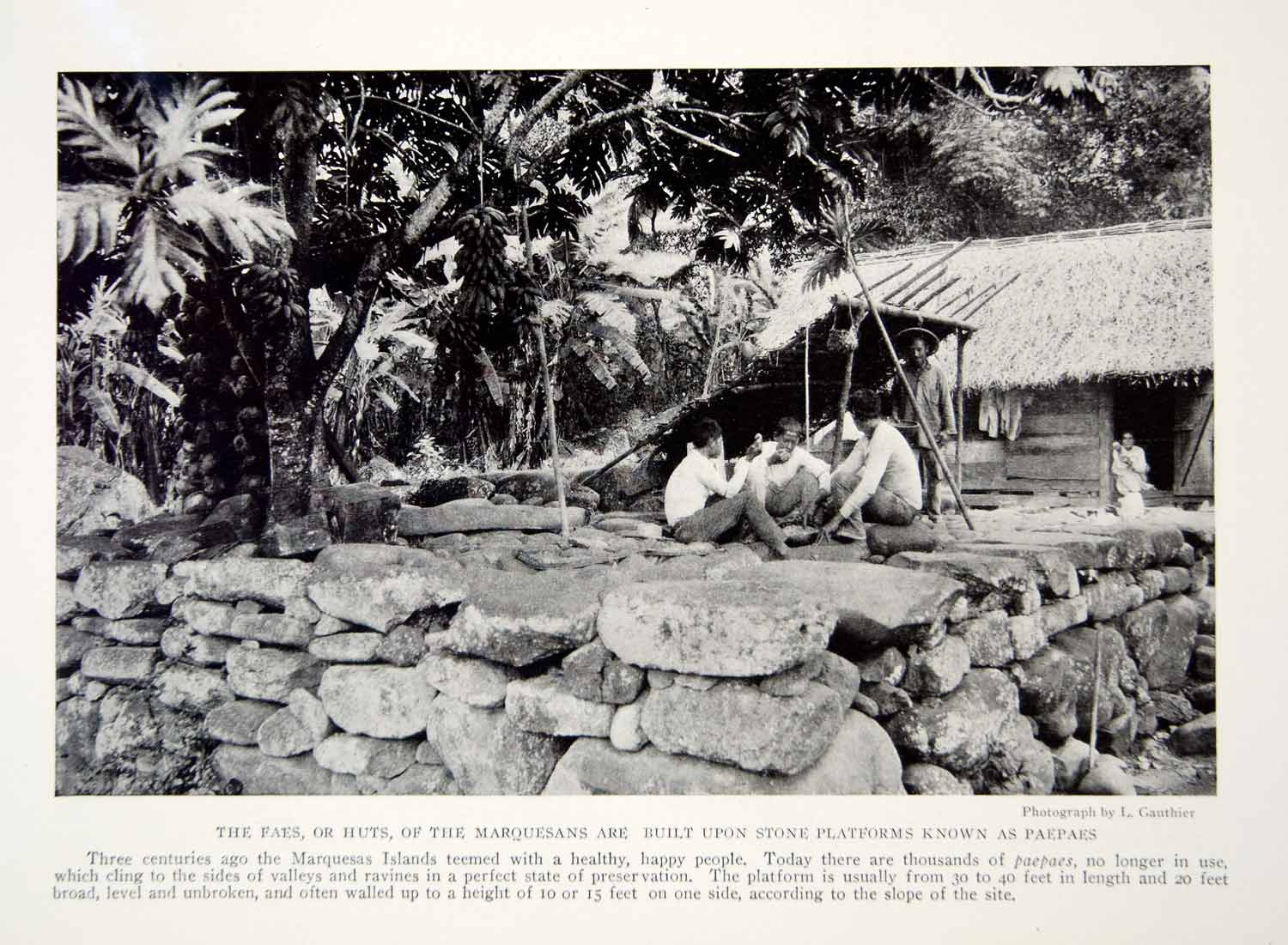 1919 Print Marquesans Islands Hut Architecture Paepaes Historical Image YNG4