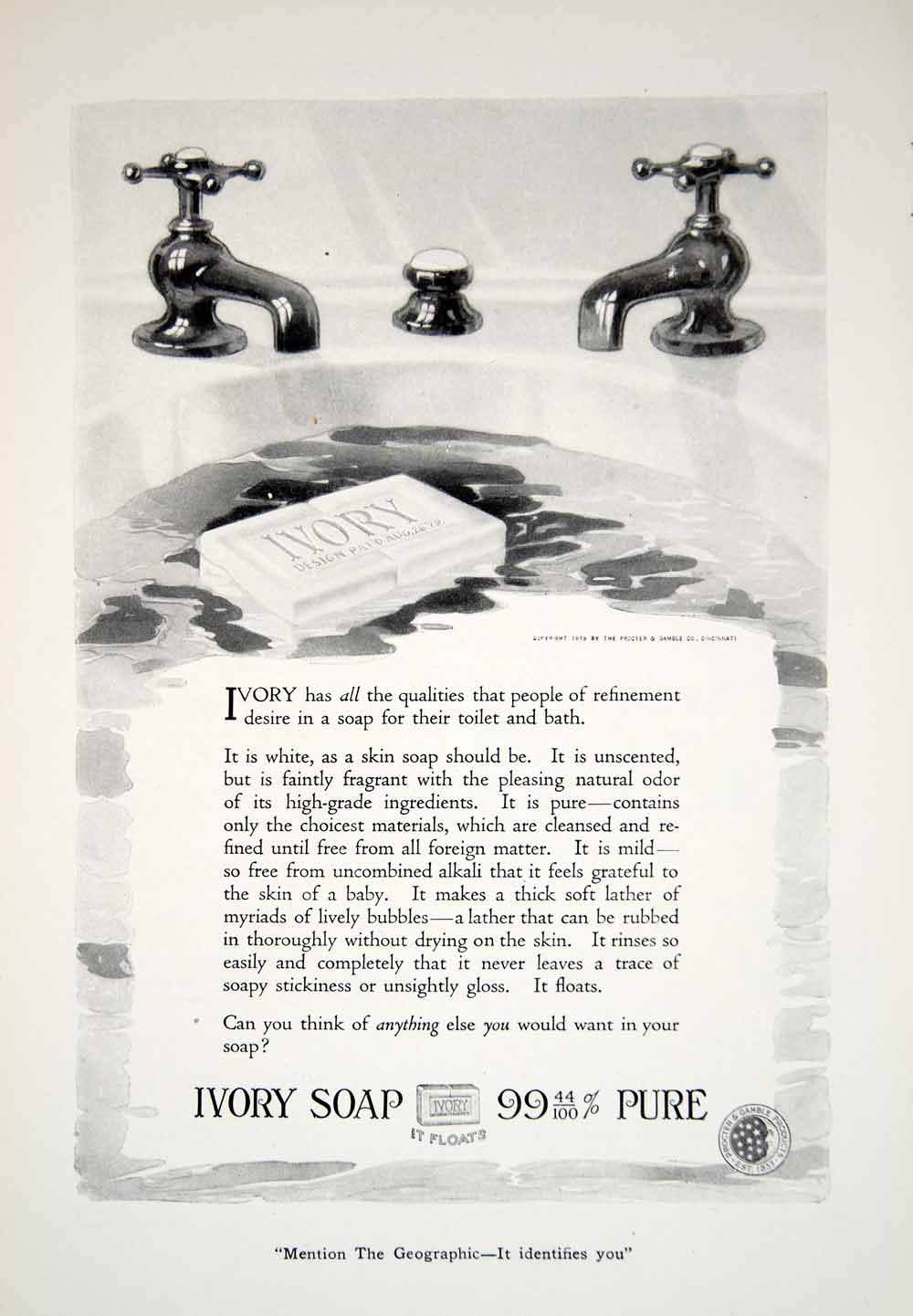 1919 Ad Proctor Gamble Hygiene Ivory Soap Cleaning Toilet Sink Washing YNG4