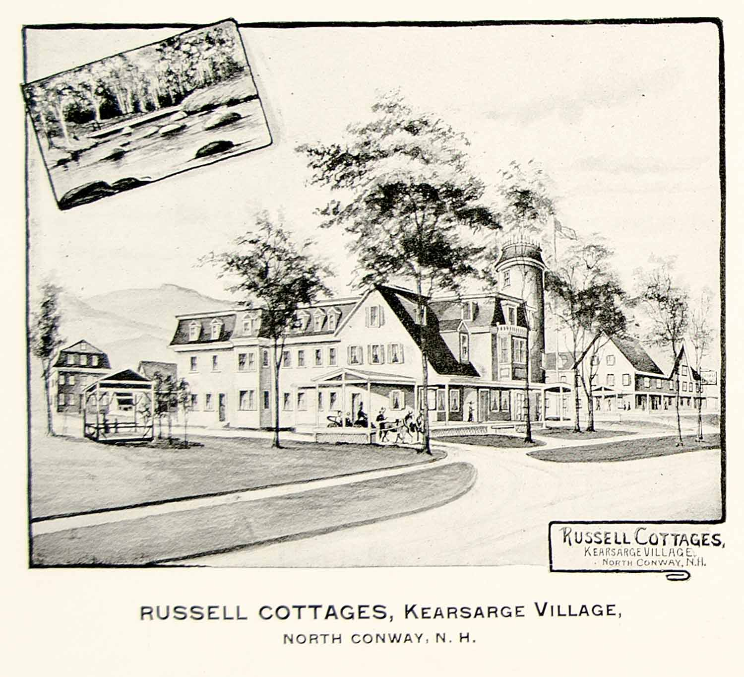 1892 Print Russell Cottages Kearsarge Village North Conway New Hampshire YNHA1