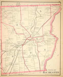1892 Lithograph Map City Rochester Strafford County New Hampshire NH New YNHA2