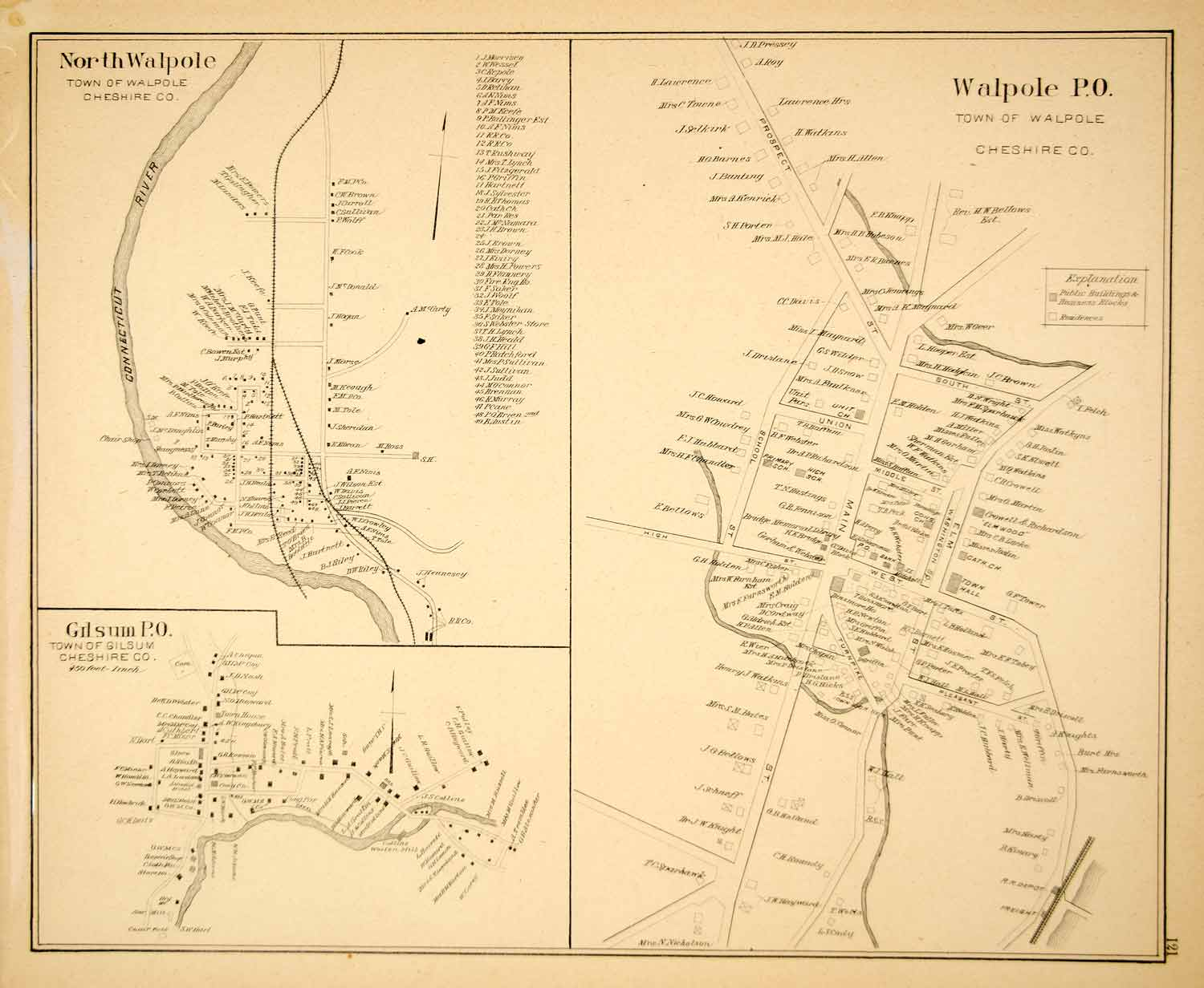 1892 Lithograph Map Walpole Gilsum Town Cheshire County New Hampshire NH YNHA2