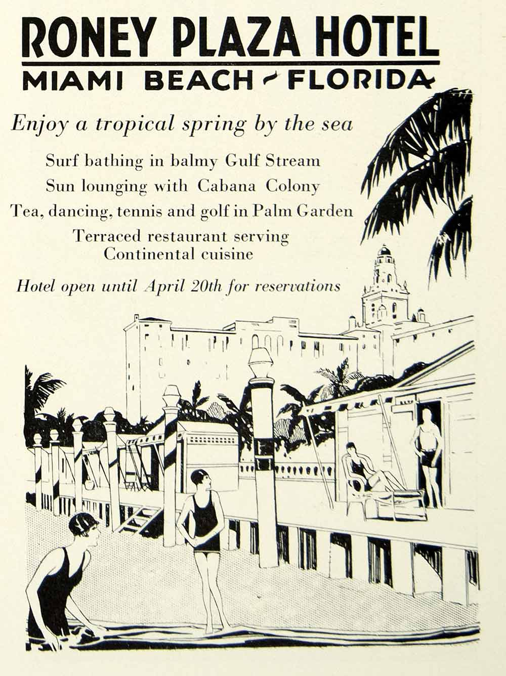 1930 Ad Roney Plaza Hotel Miami Beach Florida Tropical Swim Bathing Gulf YNM1