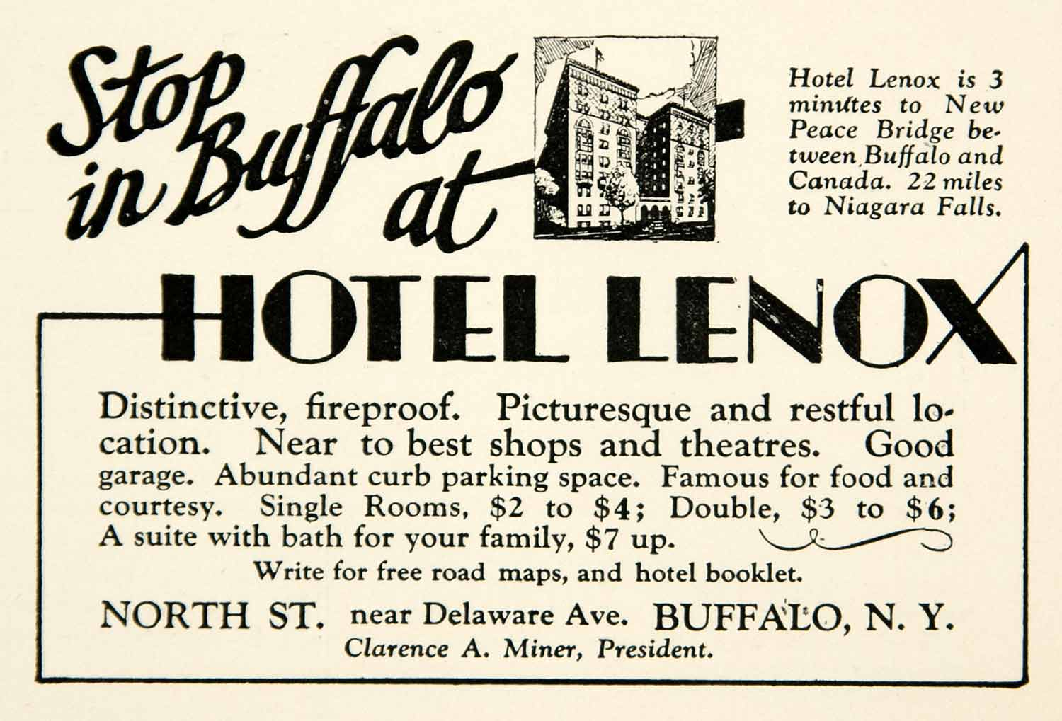 1930 Ad Hotel Lenox Buffalo New York Hospitality Architecture Peace Bridge YNM1