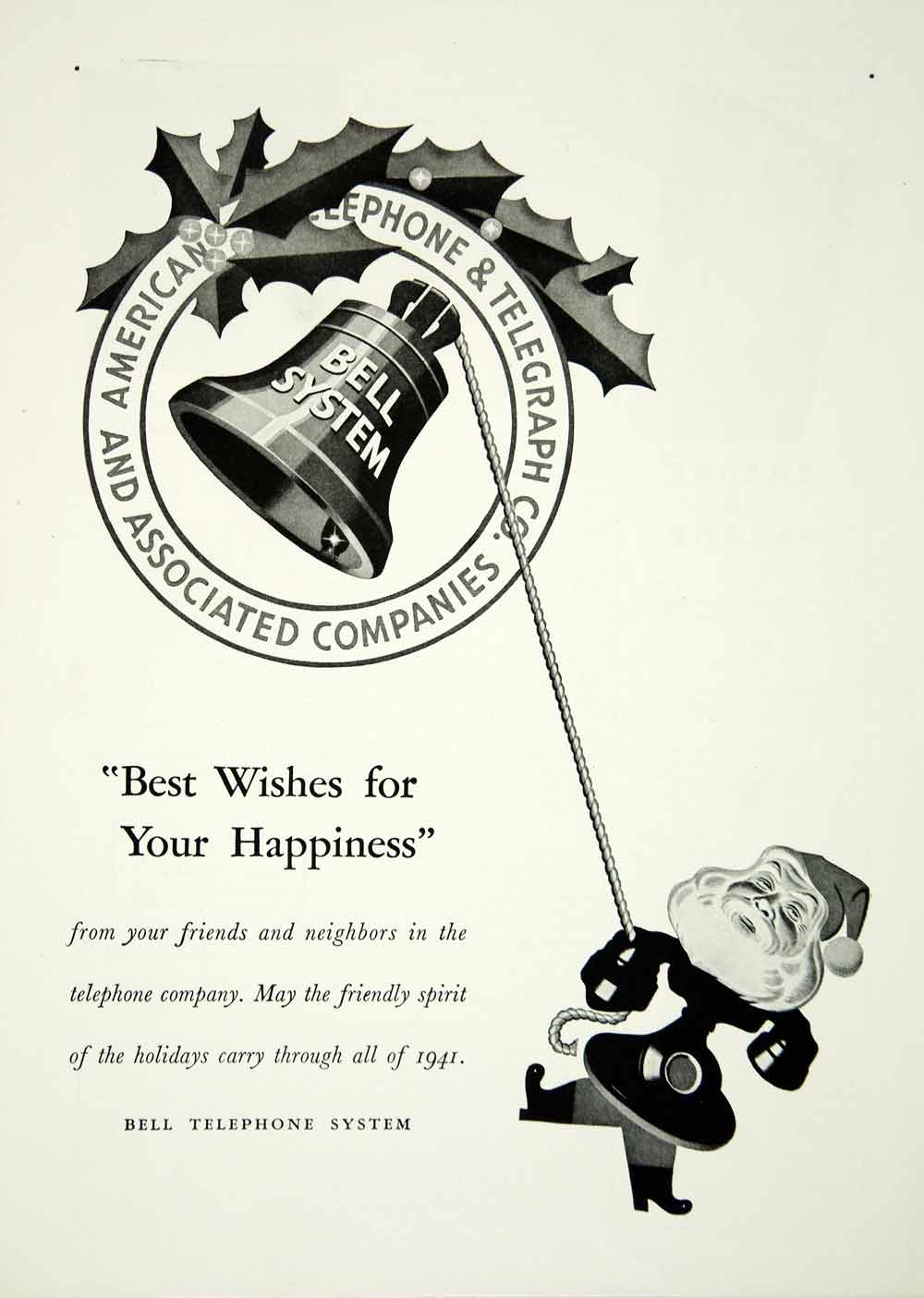 1941 Ad Bell Telephone System Santa Claus Holiday Christmas Holly American YNM2
