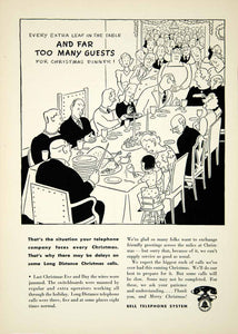1942 Ad Bell Telephone System Wartime Christmas Dinner Holiday YNM2